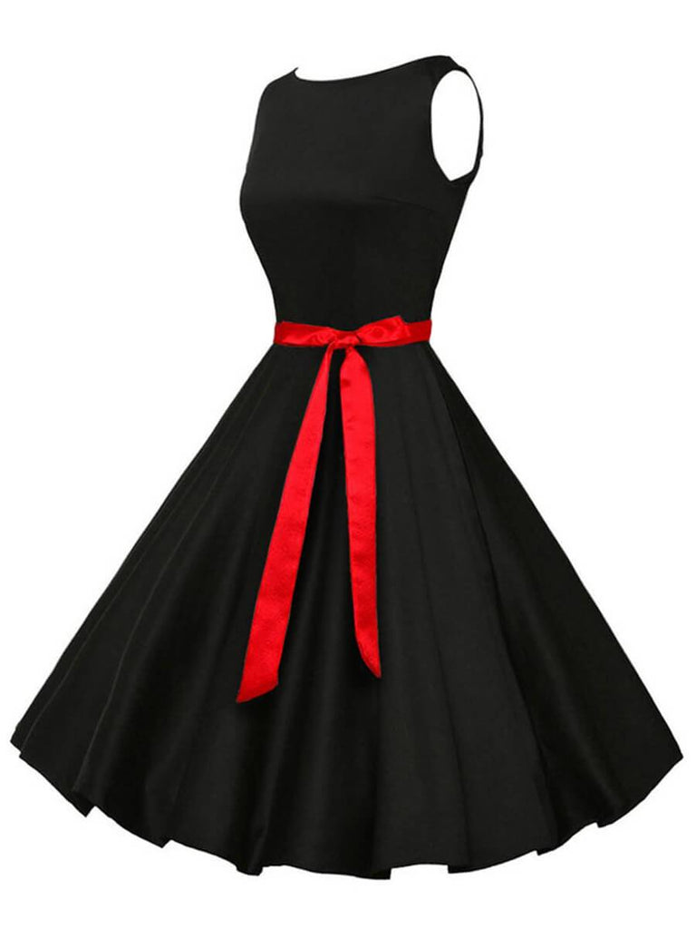 1950s Dress Sleeveless Boatneck Vintage Dress with Belt