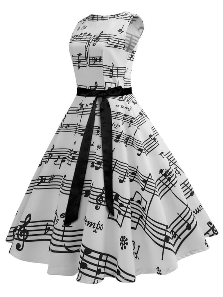 1950s Dress A-Line Sleeveless O-Neck Dress With Musical Note Pattern