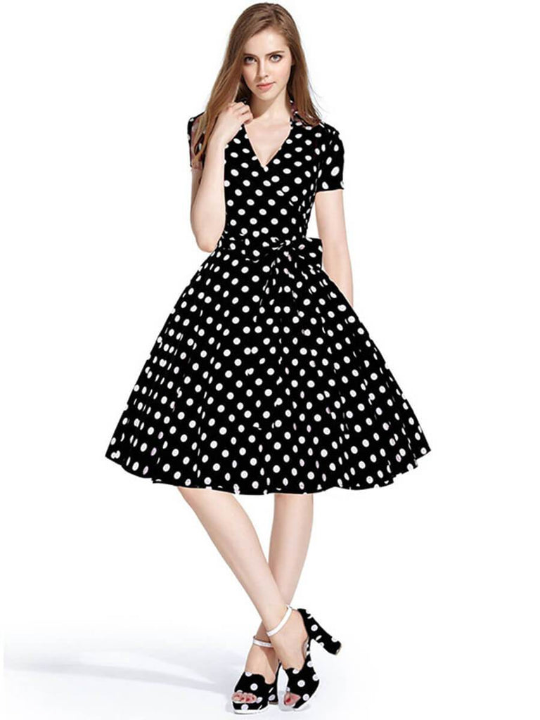 Retro Dresses Audrey Hepburn 1950s Rockabilly Polka Dot Dress