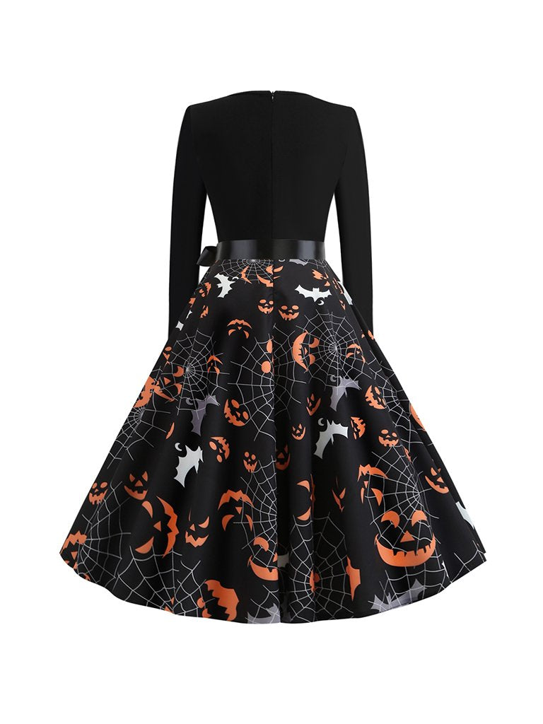 Halloween Autumn And Winter Round Neck Long Sleeve Spider Web Big Swing Dress