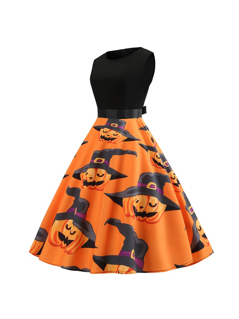 Halloween Round Neck Sleeveless Stitching Ribbon Waist Pumpkin Head Print Big Swing Dress