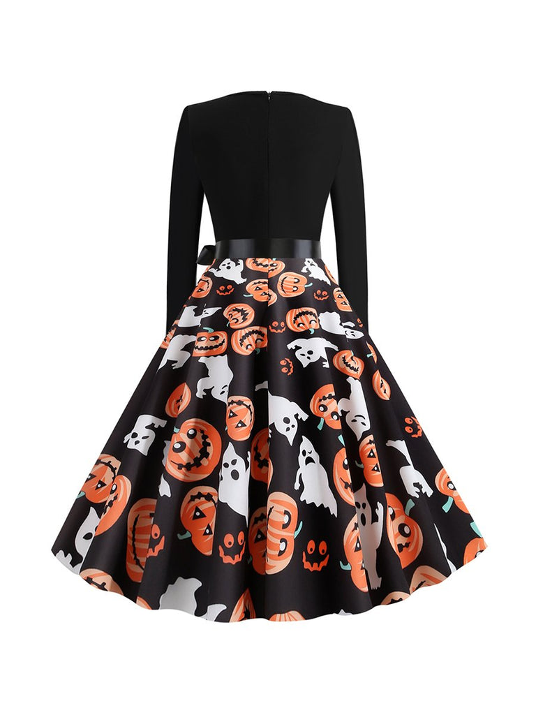 Halloween Vintage Round Neck Long Sleeve Print Dress