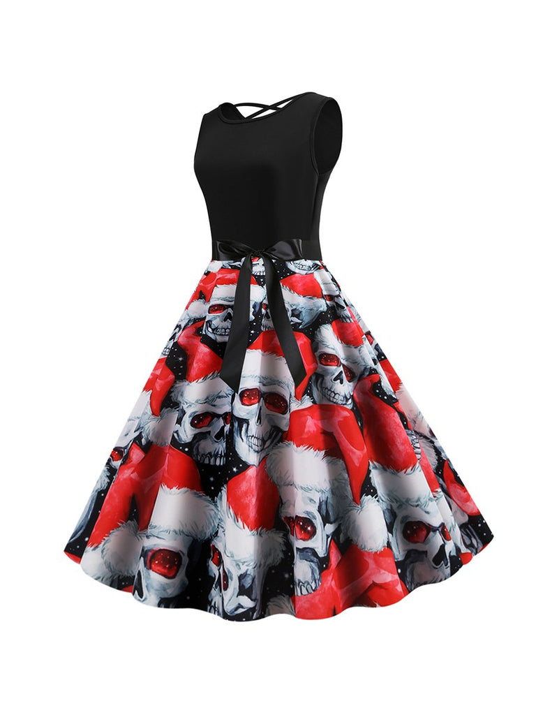 Halloween Sleeveless Backless Bandage Skull Dress