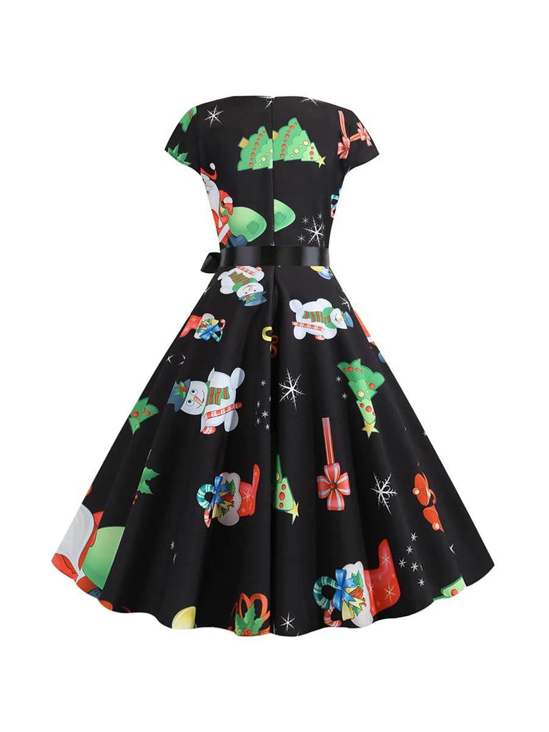Christmas Dress Hepburn Style Round Neck Short Sleeve Printed Dress