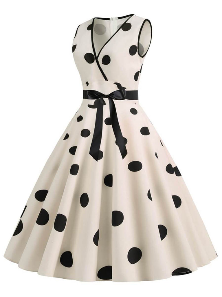 Womens 1950s Vintage V-Neck Princess Rockabilly Swing Dress