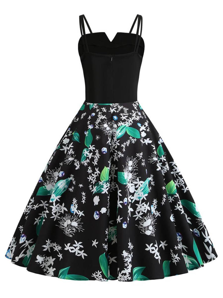 Womens 1950s Vintage Halter Princess Rockabilly Swing Casual Dress