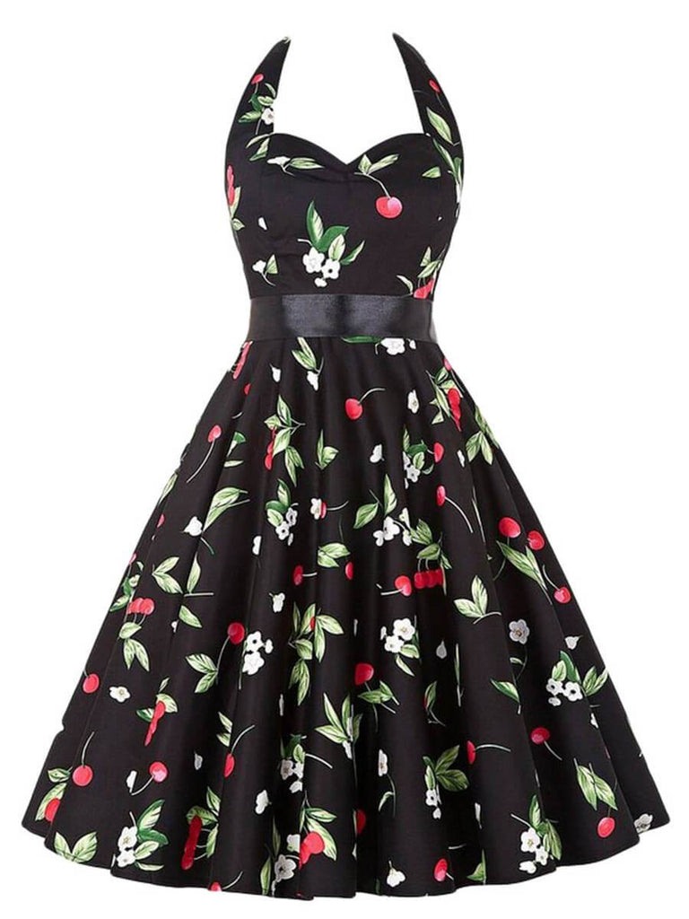 50s Swing Dress A-Line Halter Sleeveless Knee-Length Dress