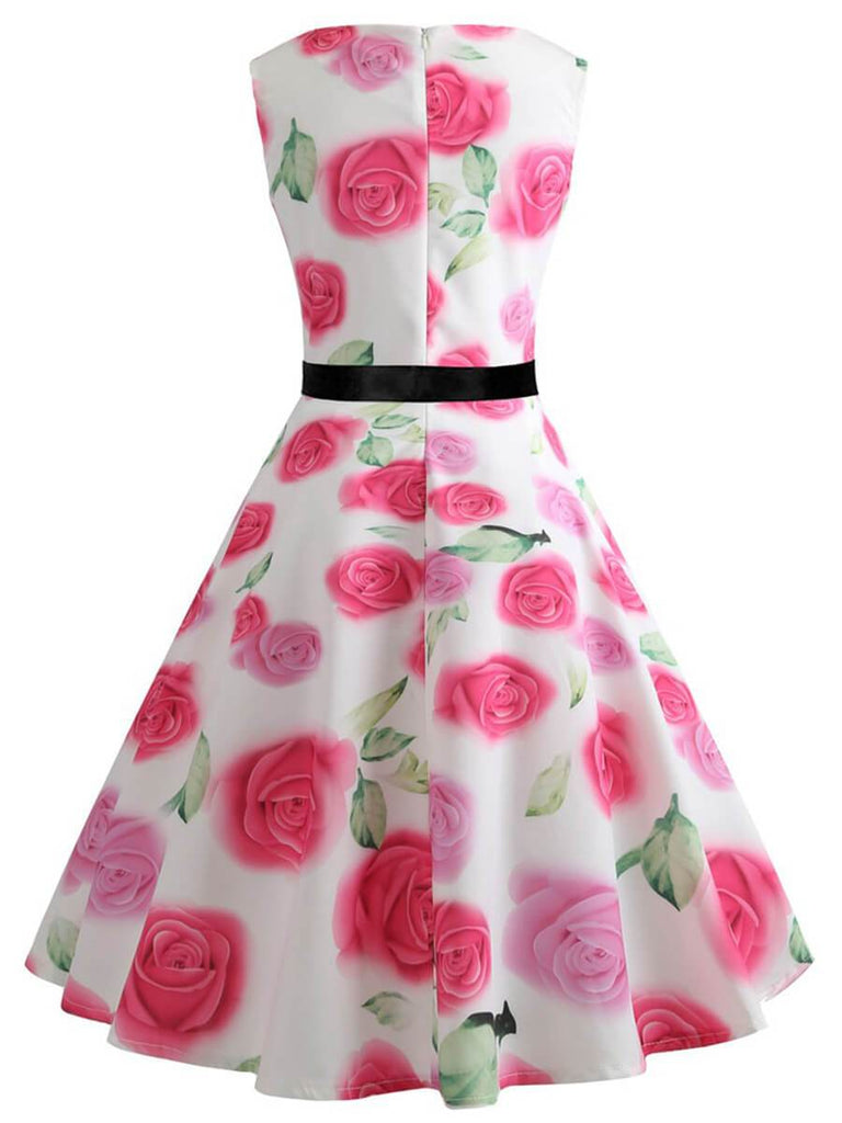 Audrey Hepburn Dress A-Line O-Neck 1950s Dress with Pink Rose Printing
