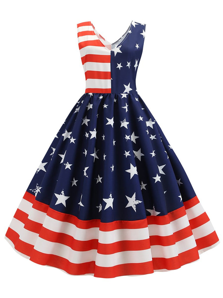 1950s Dress American Flag V Neck Striped Dress