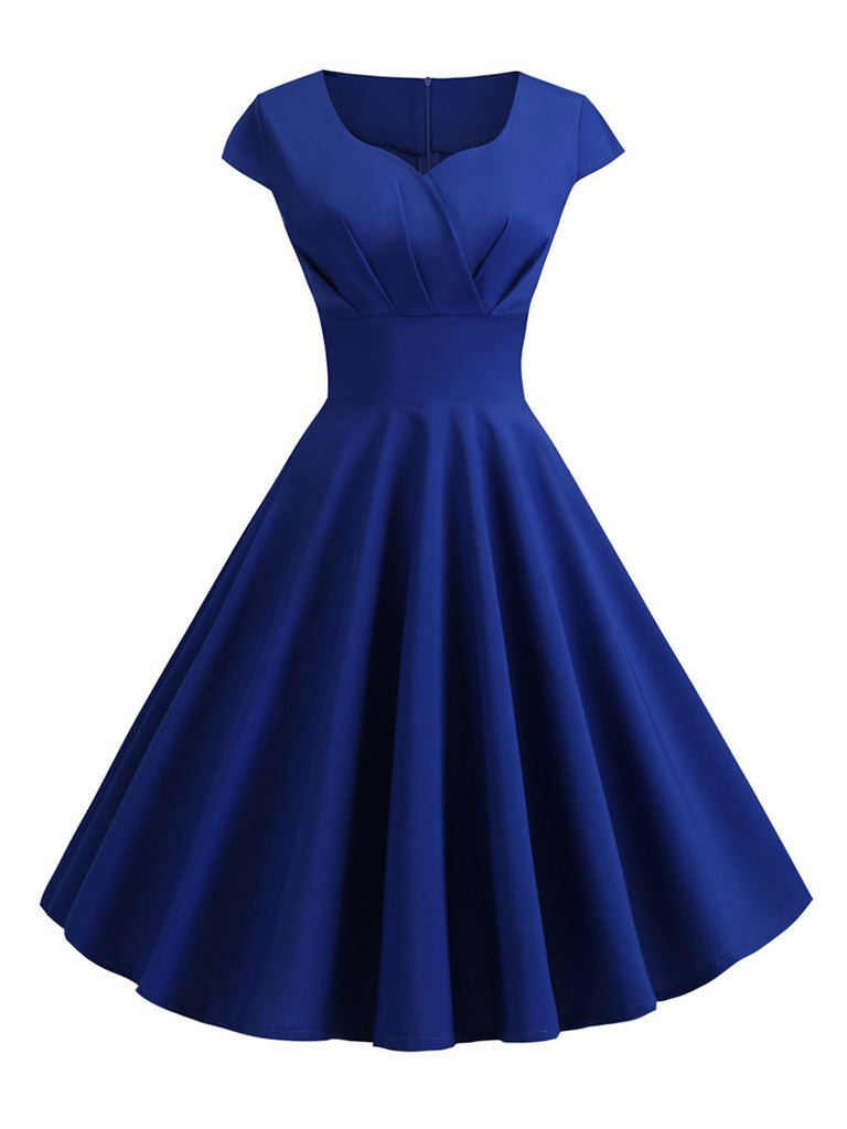 1950s Dress Solid Color Aline Dress