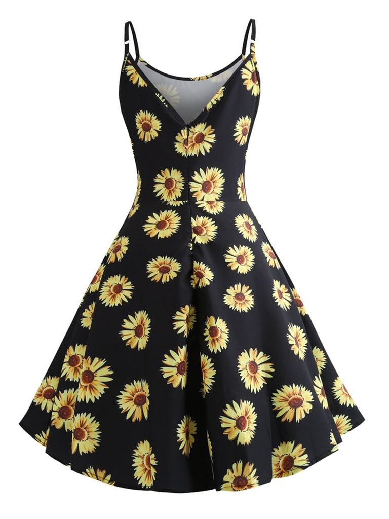 1950s Dress Plant Print Spaghetti Strap Dress