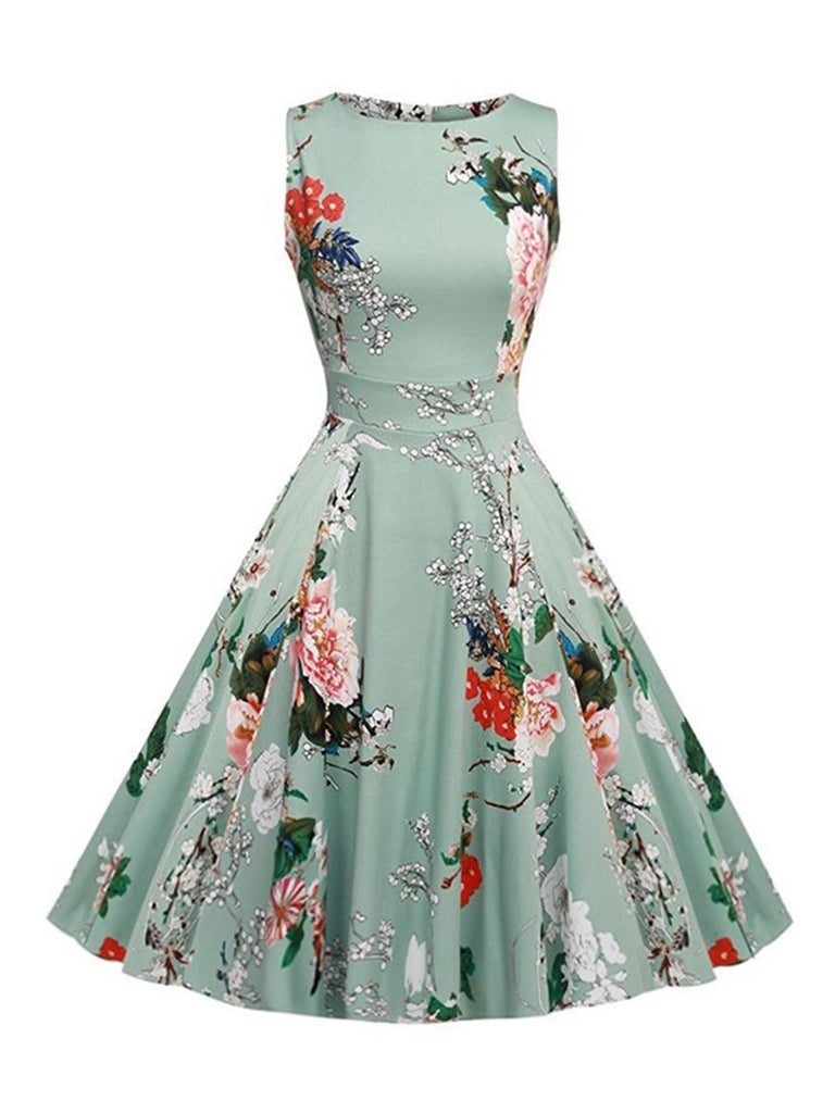 Swing Dress Sleeveless Floral Pleated 1950s Dress