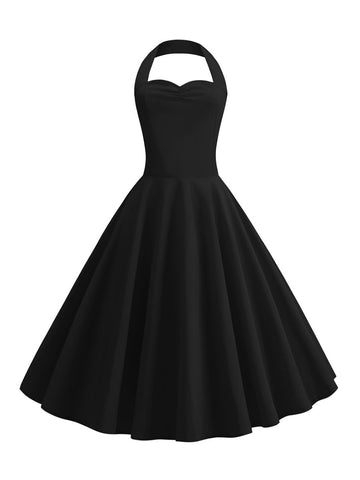 1950s Halter Neck Dress Simple Solid Color A-Line Dress