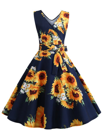1950s Dress Deep V-neck Sleeveless Printed Belt Waist Dress with Large Swing Skirt