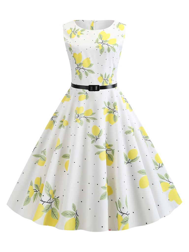 1950s Dress Sleeveless Printed Belt Waist Dress