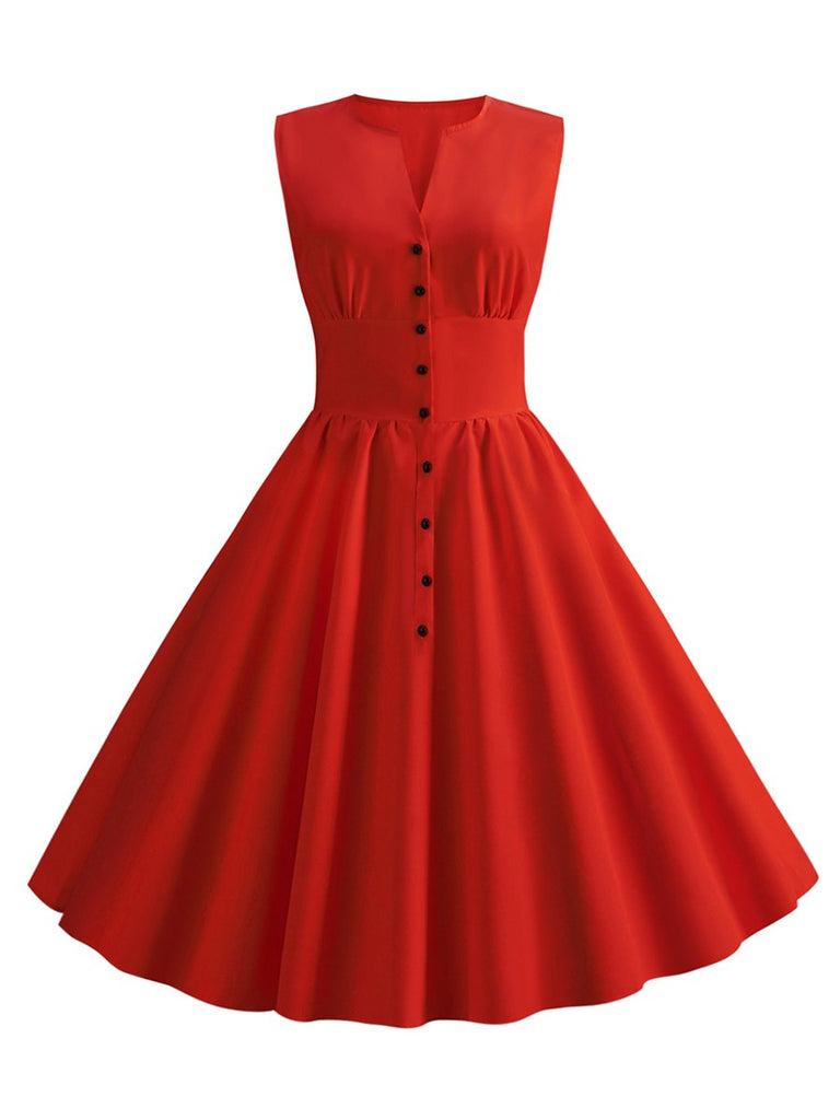 Hepburn Style Womens Single-Breasted V-neck Sleeveless Solid Color Dress