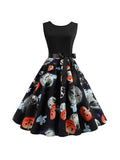 Halloween Costumes Skull Print O-Neck Sleeveless Dress