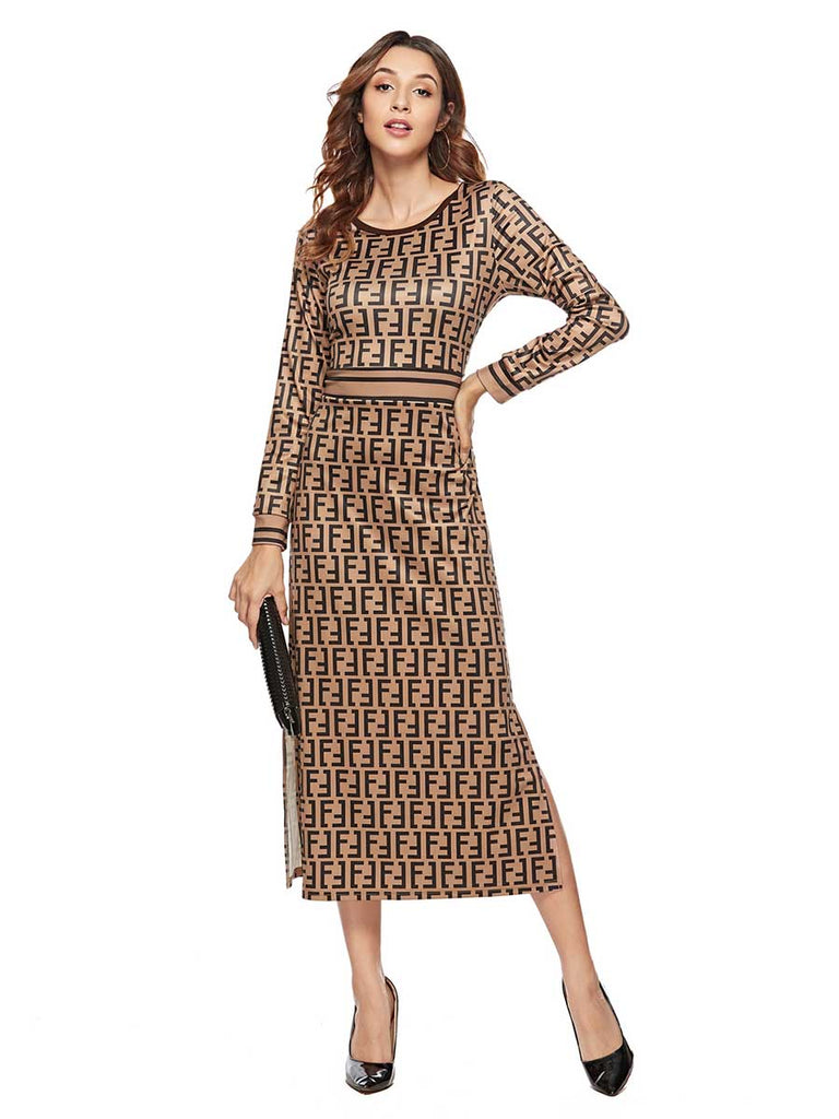 Evening Dress Fashion Print Crew Neck Slim Dress