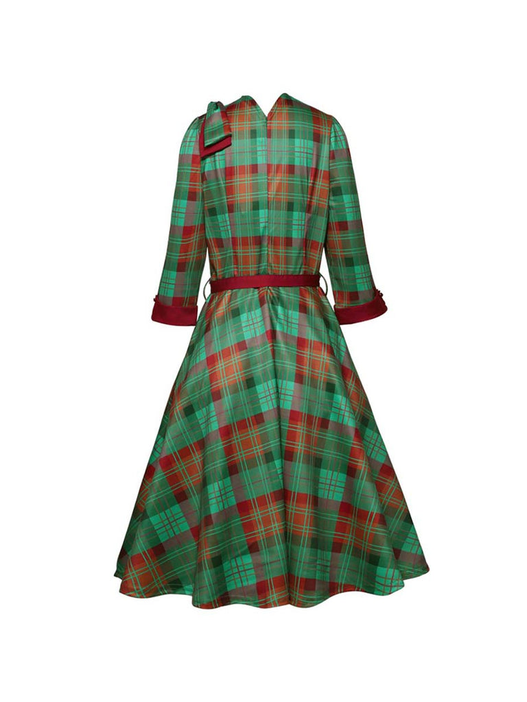 Fluffy Dress Retro Green Plaid Square Collar Stitching Dress With Belt