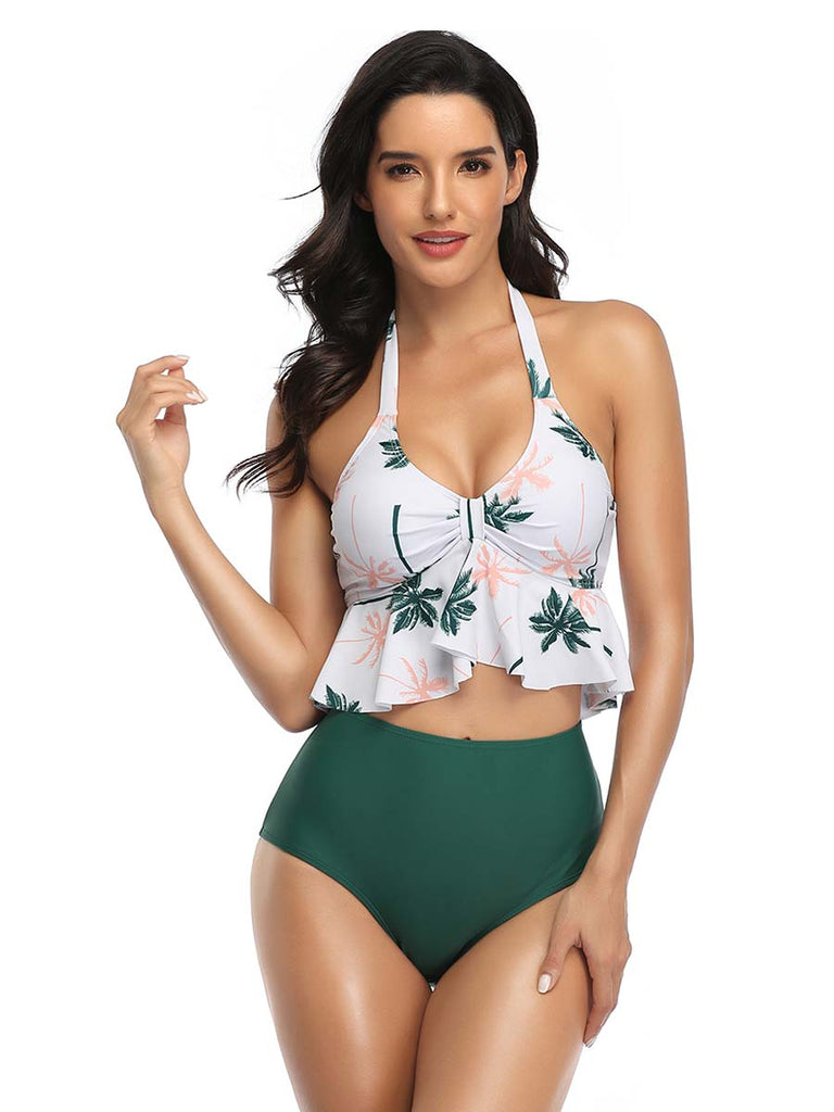 Women Split Swimsuit Halter Printed Bikini