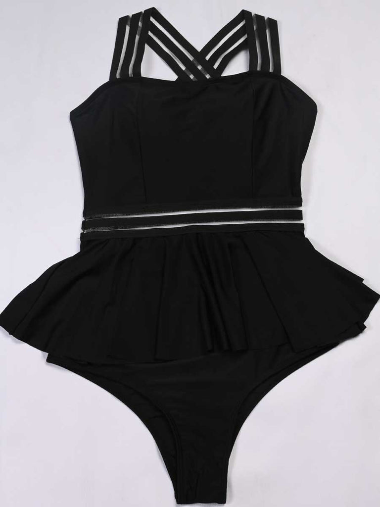 Bikini Sets Ribbon Ruffled Skirt Swimwear