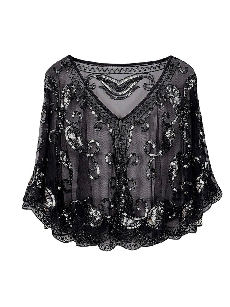 Gatsby Style Gorgeous Sequined Lace Shawl Accessories