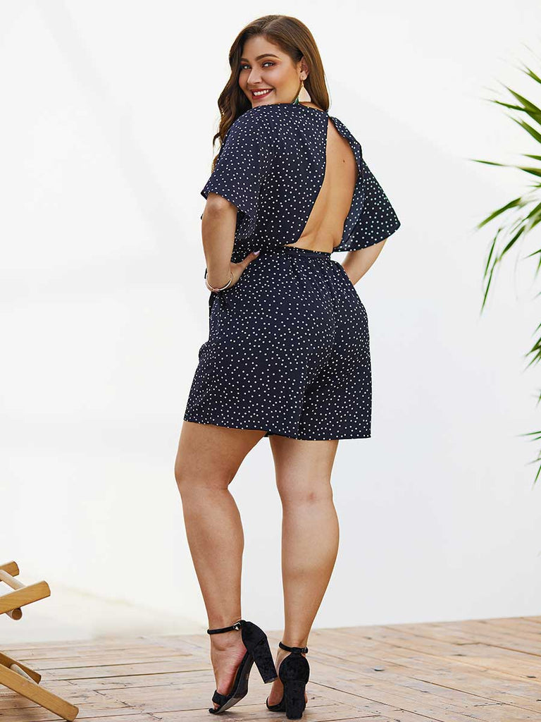 Large Size Polka Dot Lace V-neck Short Jumpsuit