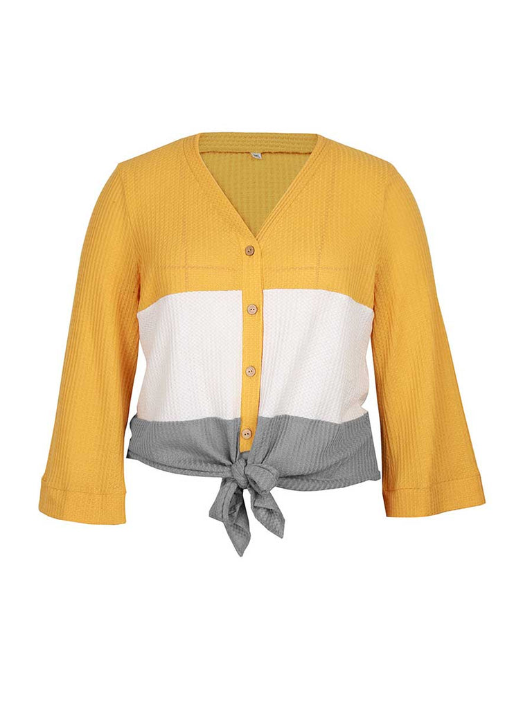 Women Sweater Loose Block Stitching Long-sleeved Knitwear