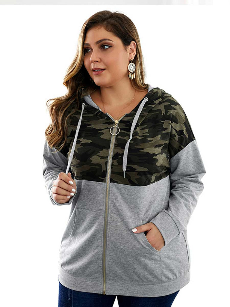 Plus Size Top Camouflage Solid Color Zipper Stitching Long-sleeved Sweatshirt