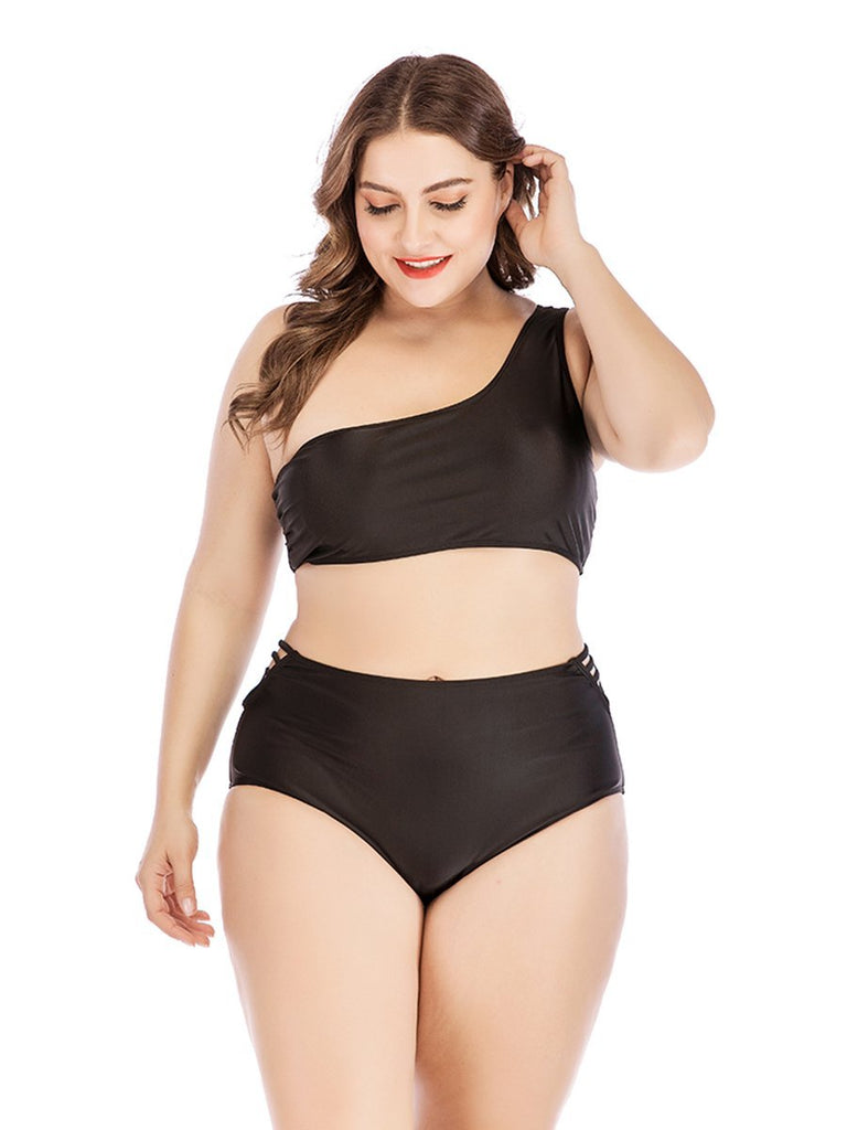 Plus Size Bikini Two-piece One-shoulder Cutout Black Swimwear