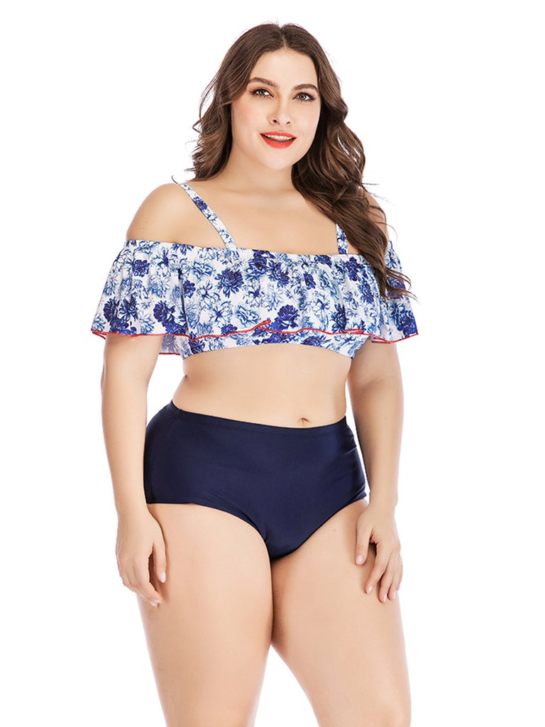 Plus Size Bikini Two-piece Off Shoulder Floral Swimwear
