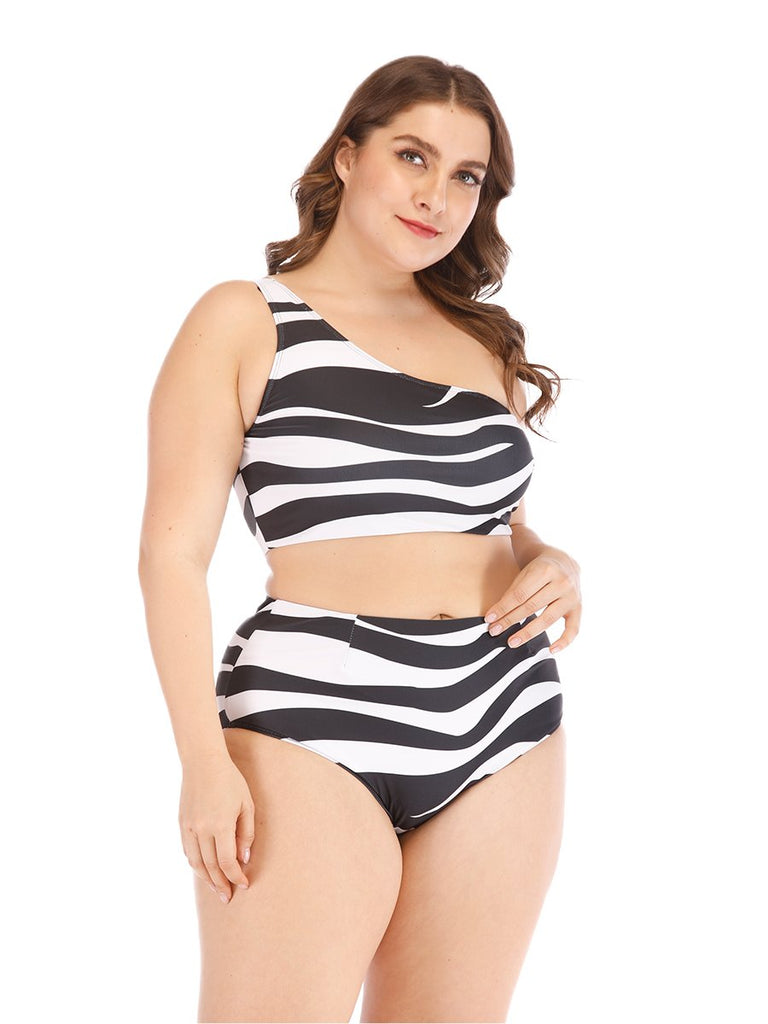 Plus Size Bikini Two-piece Zebra Stripe One Shoulder Swimwear