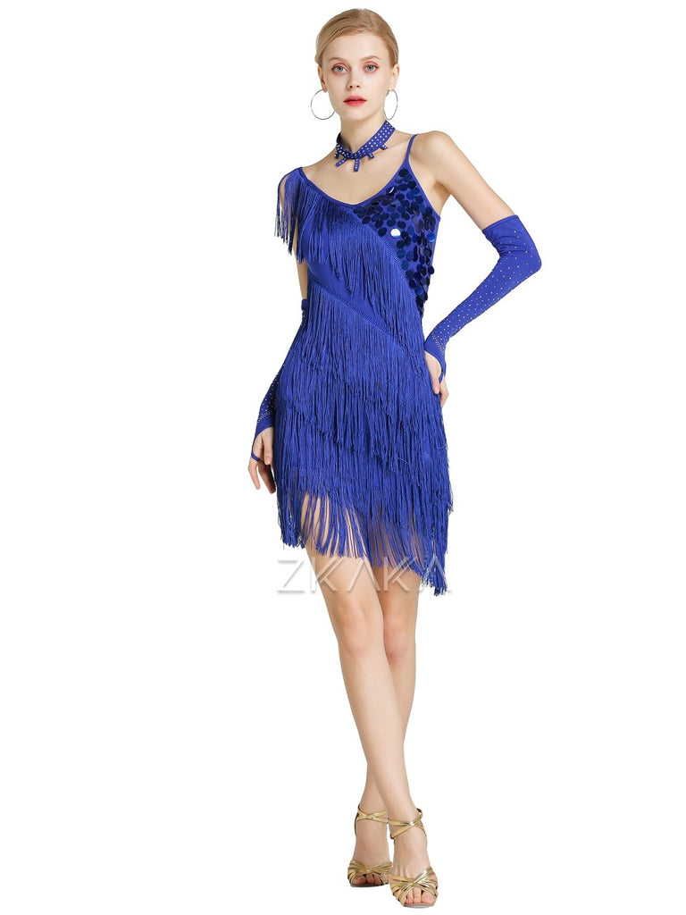 Womens Sequin Fringe Latin Dress With Necklace And Gloves