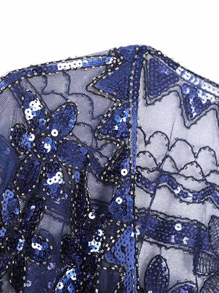 Women Shawl Retro Sequins 1920s Banquet Dress Cover-up