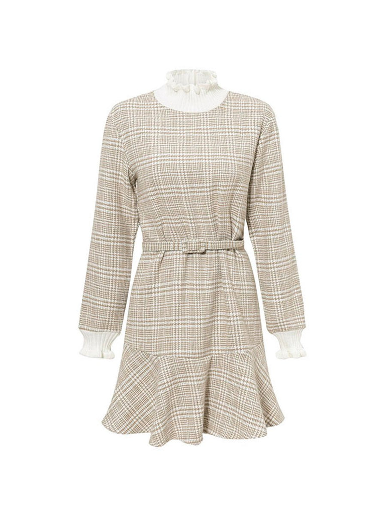 Office Lady Dress Turtleneck Plaid Flare Mini Dress in Beige