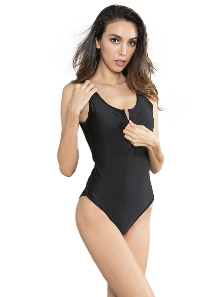 One-piece Bikini Solid Color Backless Swimsuit