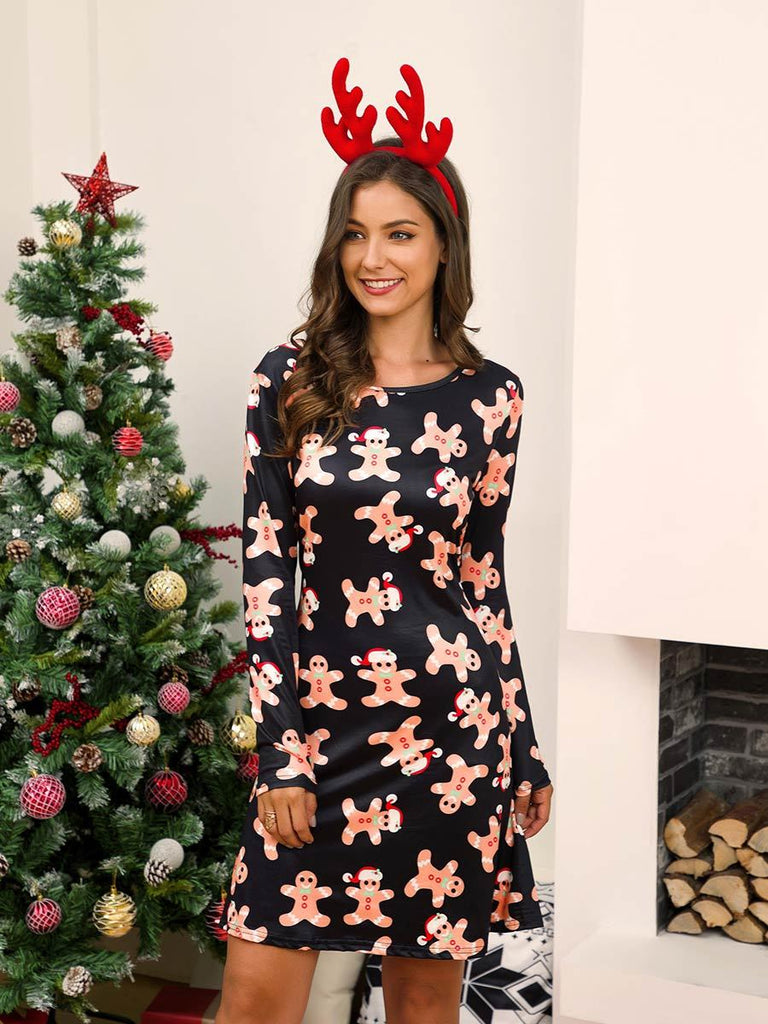 Christmas Dress Long Sleeve Print Mini Dress