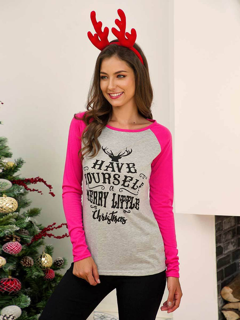 Christmas Tops Long Sleeve Christmas Print Stitching Pullover