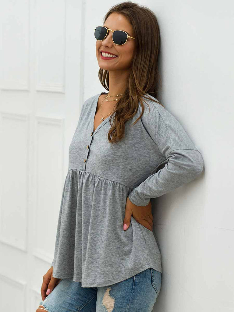 Casual T-shirt V-neck High Waist Ruffled Hem Top