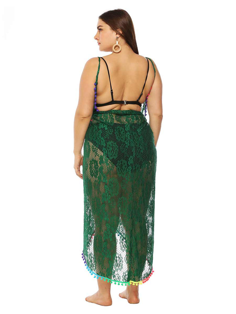 Sexy Transparent Lace Stitching Colorful Tassel Irregular Strap Beach Skirt