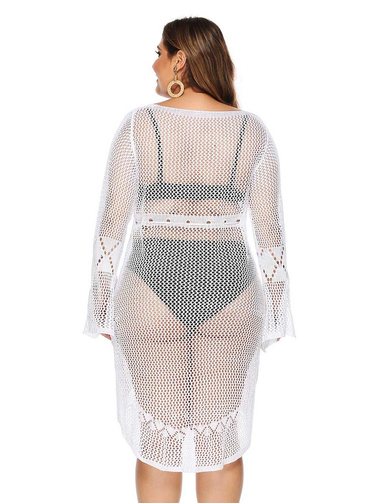 Plus Size Smock Sexy Hollow Flare Sleeve Lace Beachwear