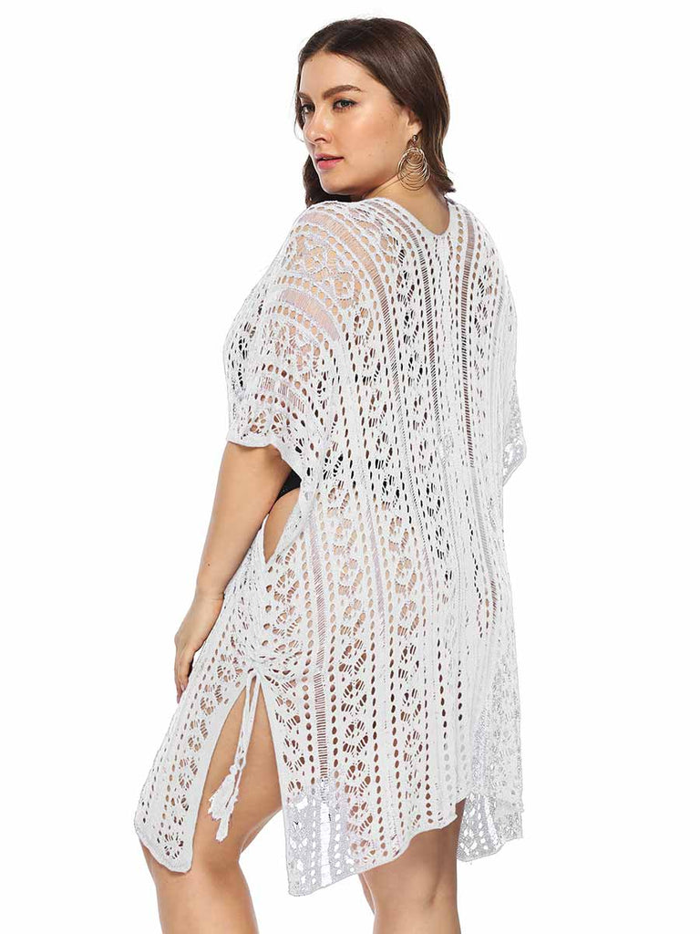 Plus Size Smock Sexy See-through V-neck Split Lace-up Beachwear