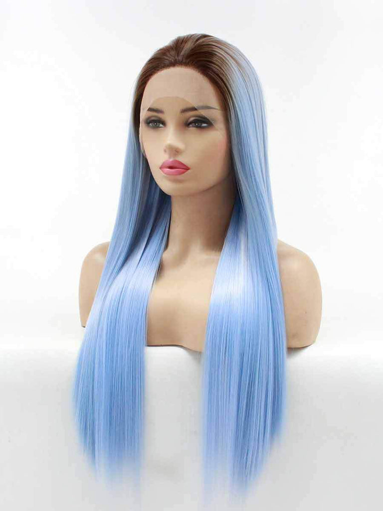 Dyed Gradient Long Straight Hair Chemical Fiber Wig