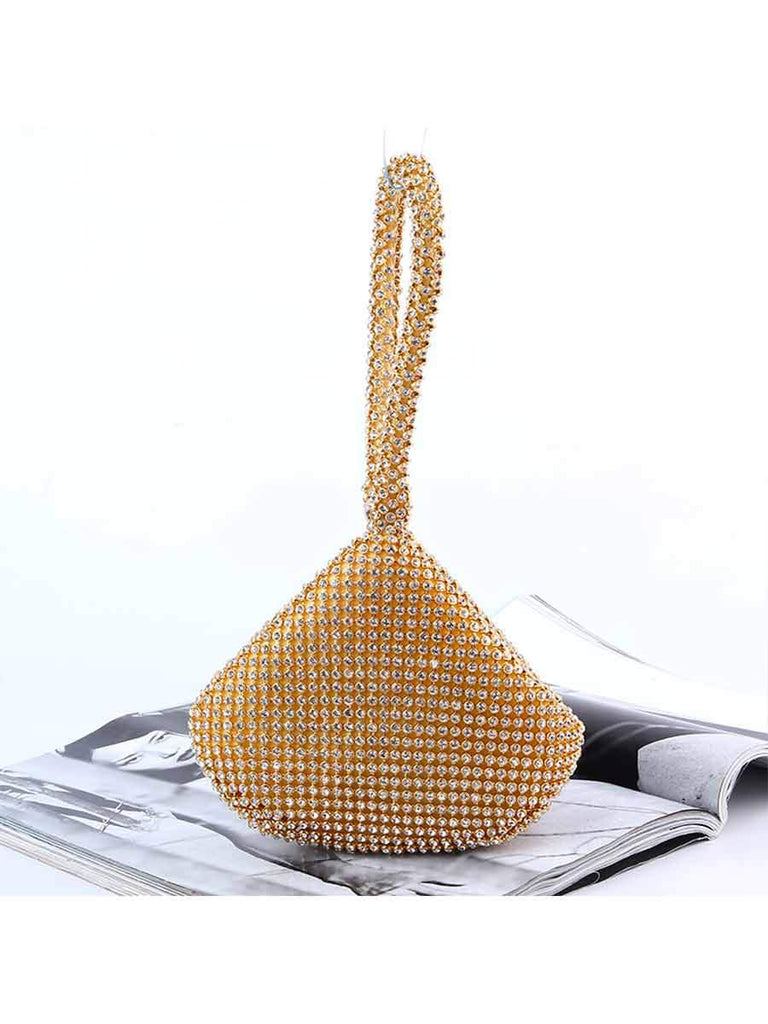 Hand-held Banquet Bag Pure Color Landmine Shape Rhinestone Bag