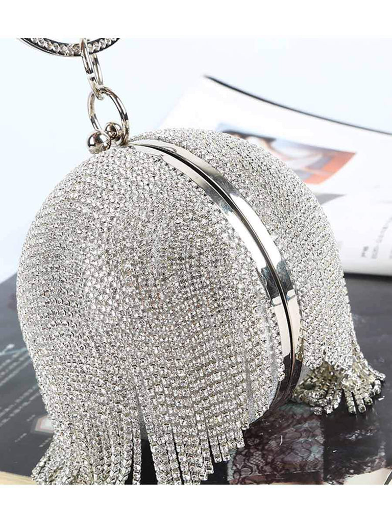 Spherical Rhinestone Evening Clutch Bag With Round Ring