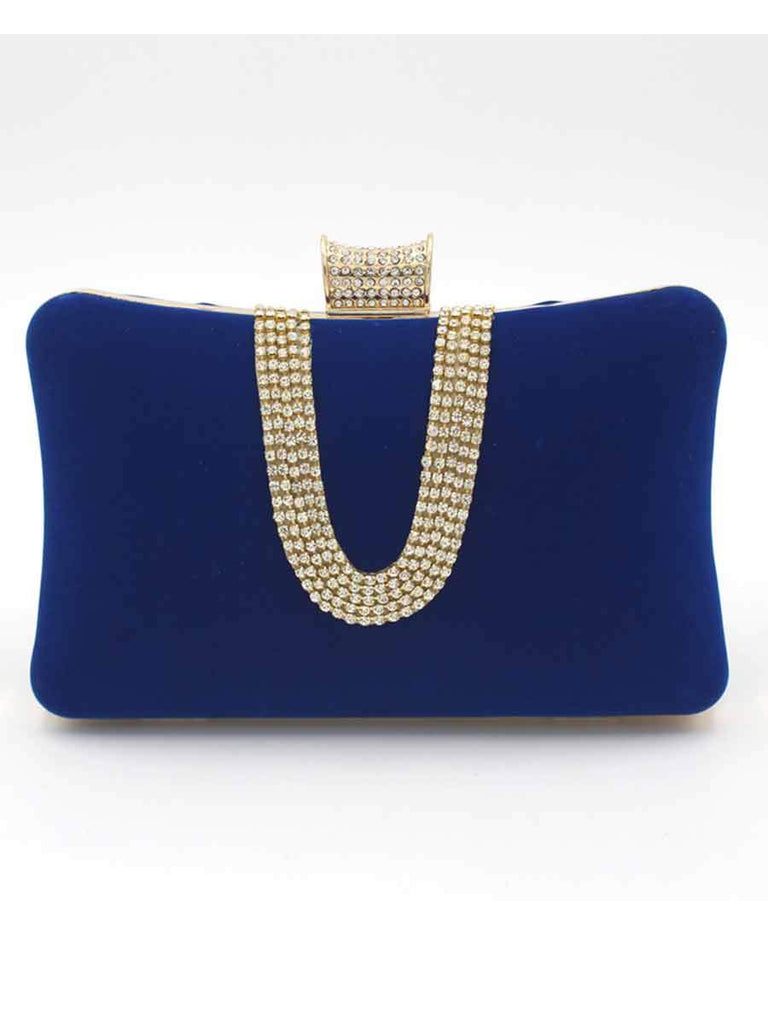 Banquet Bag Suede U-shaped Diamond Clutch Bag