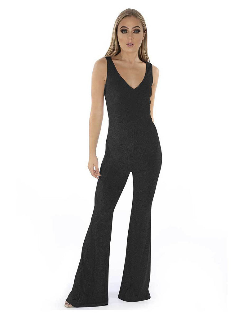 Plain V-neck Flare Trousers Jumpsuit For Women