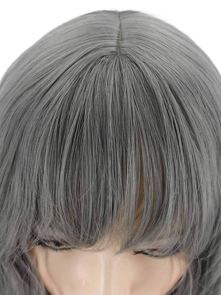 Female Wig Air Bangs Gray Long Curly Hair