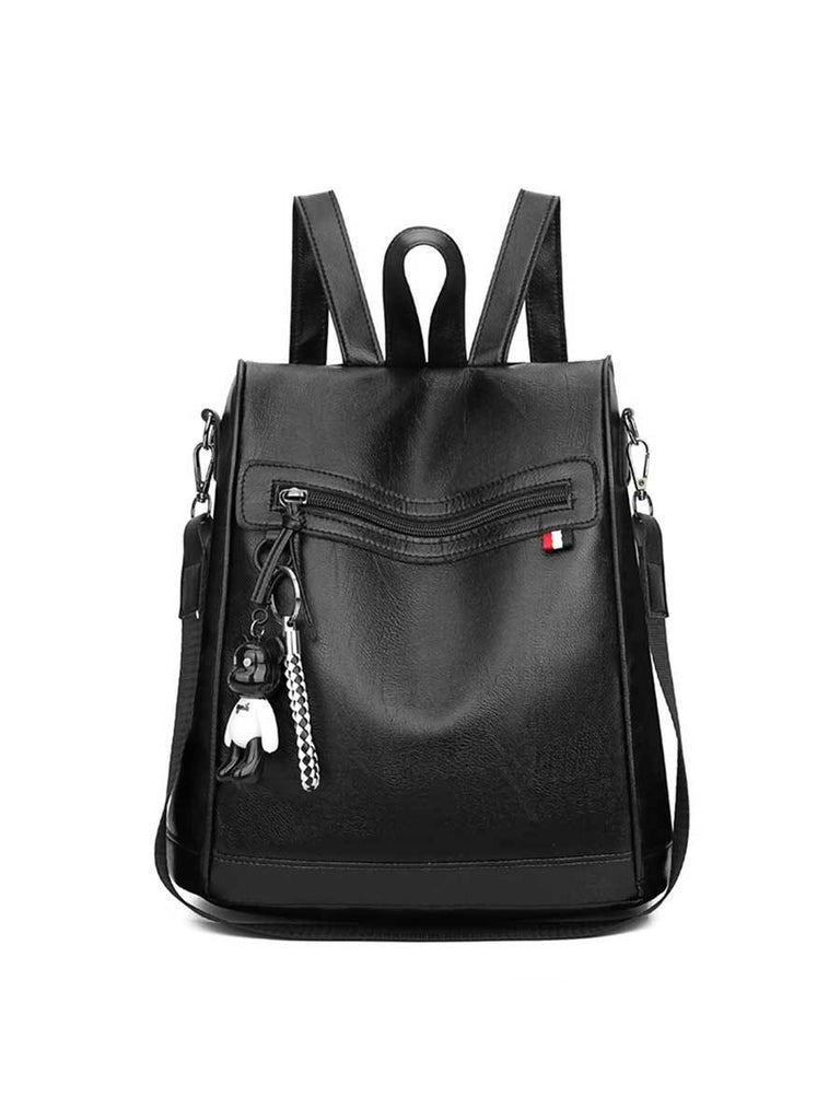 Ladies Bag Soft Solid Color Multi-function Backpack