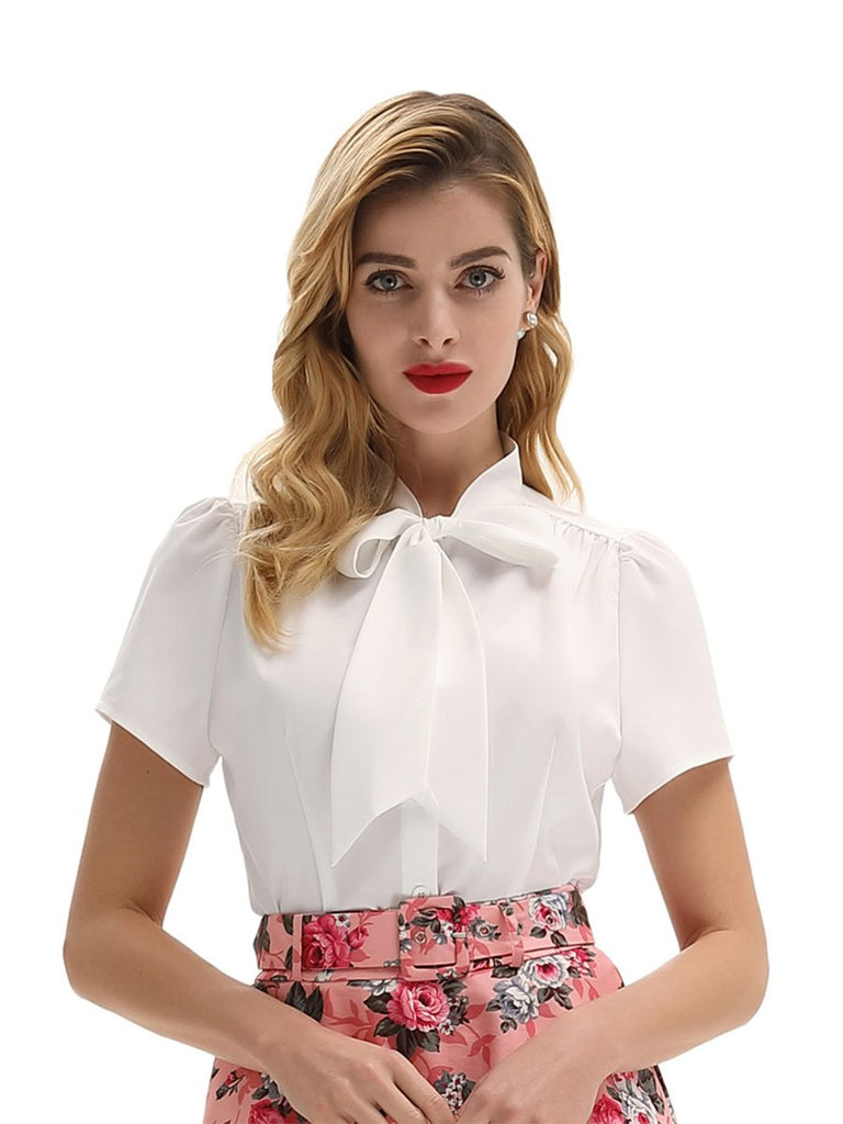 1960s Short Sleeve Blouse for Office Lady with Bow Tie